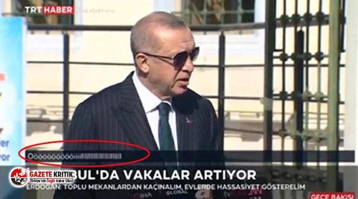 Erdoğan konuşurken TRT ekranında beliren yazıyla...
