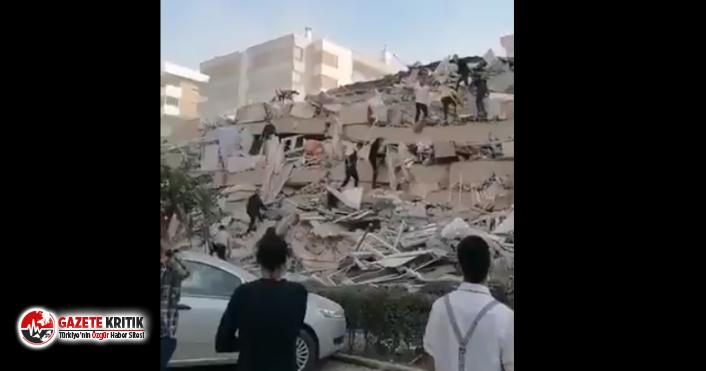 İzmir'de deprem nedeniyle yıkılan binalar var