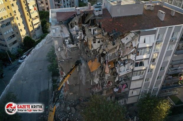 İzmir depreminde bir kısmı yıkılan Karagül Apartmanı kontrollü olarak yıkıldı
