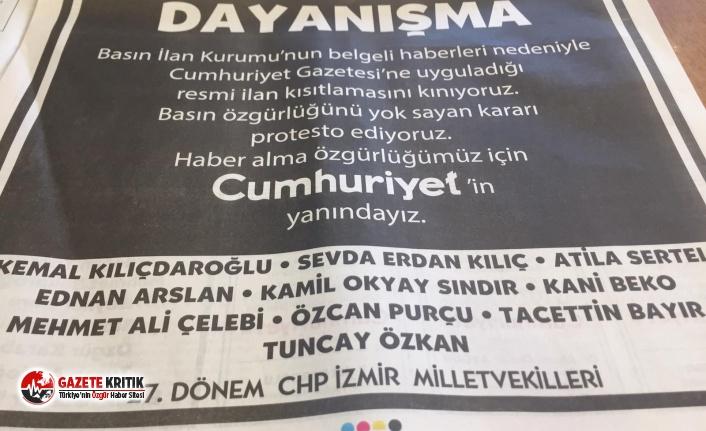 Kılıçdaroğlu ve CHP'li vekillerden gazeteye dayanışma ilanı!