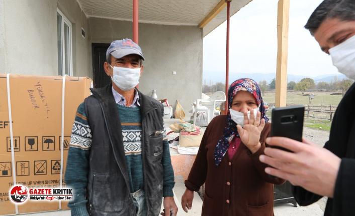 Başkan Ercengiz'den evi yanan aileye yardım eli