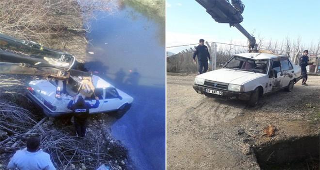 Sulama kanalına uçan otomobilde ölü bulundu