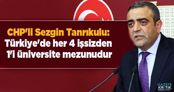 CHP'li Sezgin Tanrıkulu:Türkiye'de her 4 işsizden...