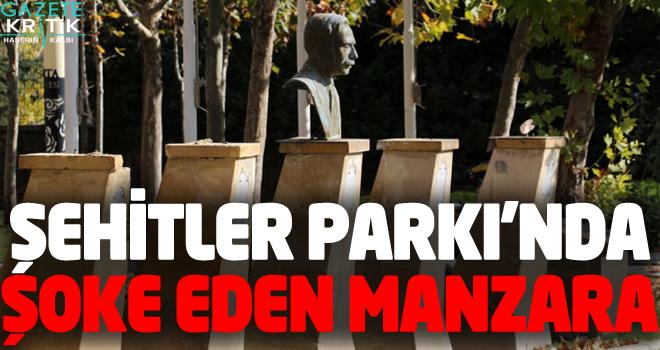 Şehitler Parkı'ndaki 9 Türk büyüğünün büstü...