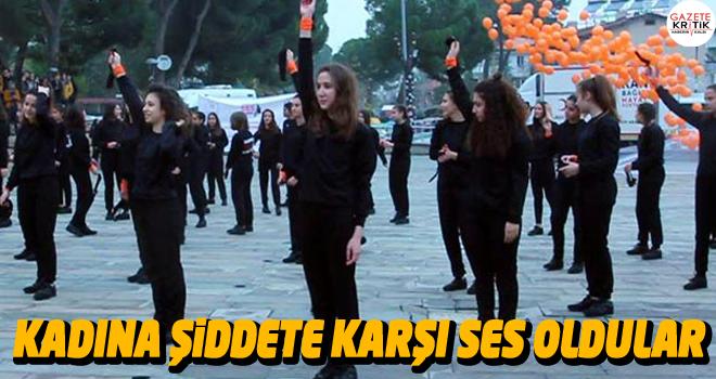 Alaşehir'de kadına şiddete karşı ses oldular