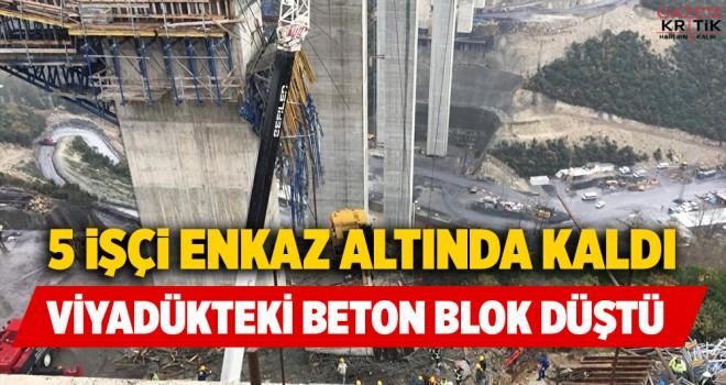Gebze'de beton blok işçilerin üzerine düştü