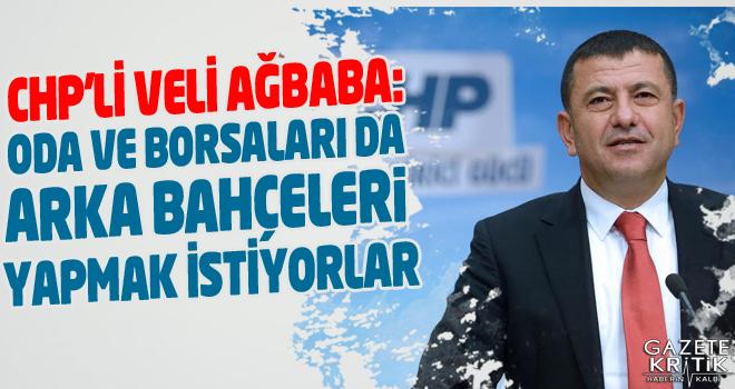 CHP'Lİ VELİ AĞBABA: ODA VE BORSALARI DA ARKA BAHÇELERİ...