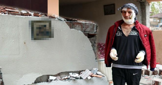 Doğal gaz patlamasında ev harabeye döndü, duvardaki...