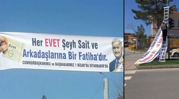 AKP 'Şeyh Sait'li pankartını inkar etti