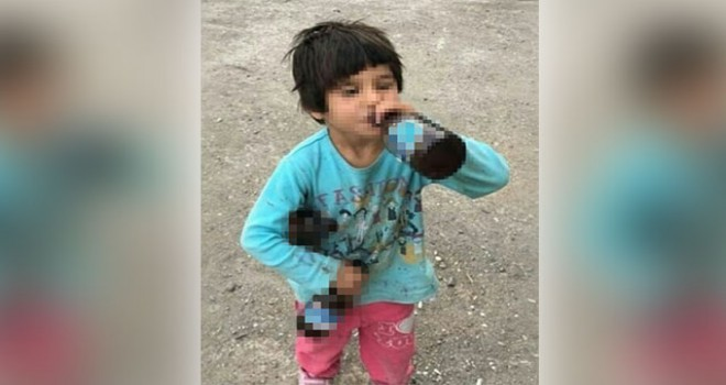 İçki şişesiyle fotoğrafı paylaşılan çocuk,...
