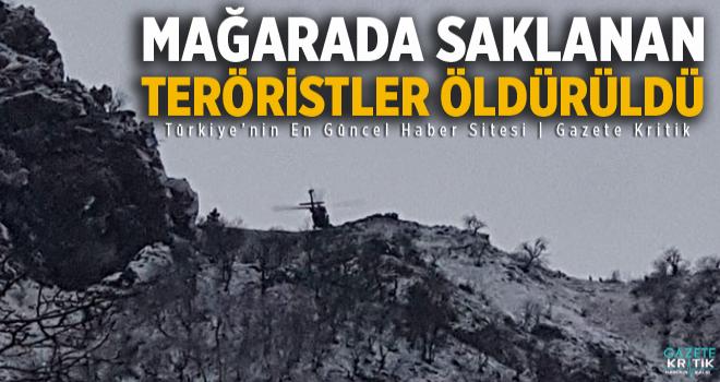 Tunceli'de mağarada saklanan PKK'lı teröristlerden...