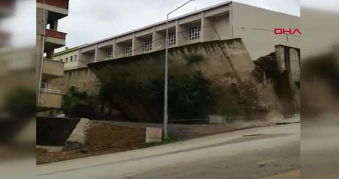 Ordu'da lisenin istinat duvarı çöktü