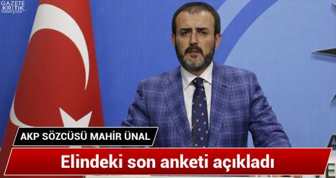 AKP Sözcüsü Mahir Ünal elindeki son anketi açıkladı