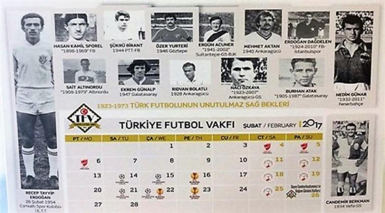 Türkiye Futbol Vakfı, 'unutulmaz sağ bekler' listesinin ilk sırasına Erdoğan'ı koydu