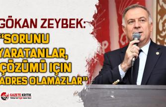 """CHP'li Gökan ZEYBEK:""""Sorunu yaratanlar, çözümü için adres olamazlar"""""""