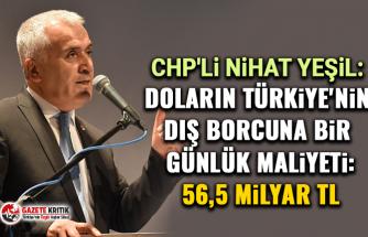 CHP'li Nihat Yeşil:Dolarin Türki̇ye'ni̇n diş borcuna bi̇r günlük mali̇yeti̇: 56,5 mi̇lyar TL